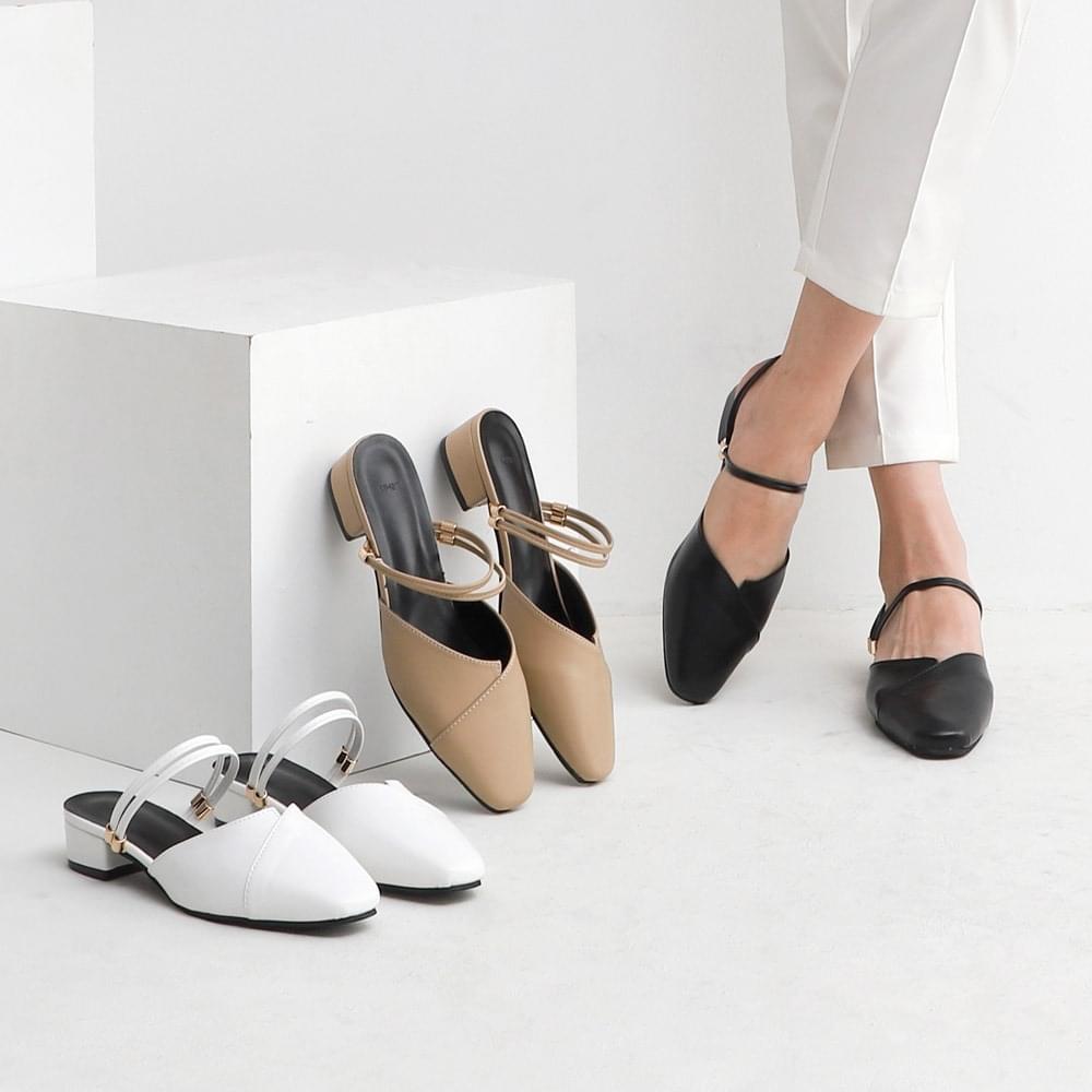 Isshu 2way wrap design low heel mules & slingback sandals 7054