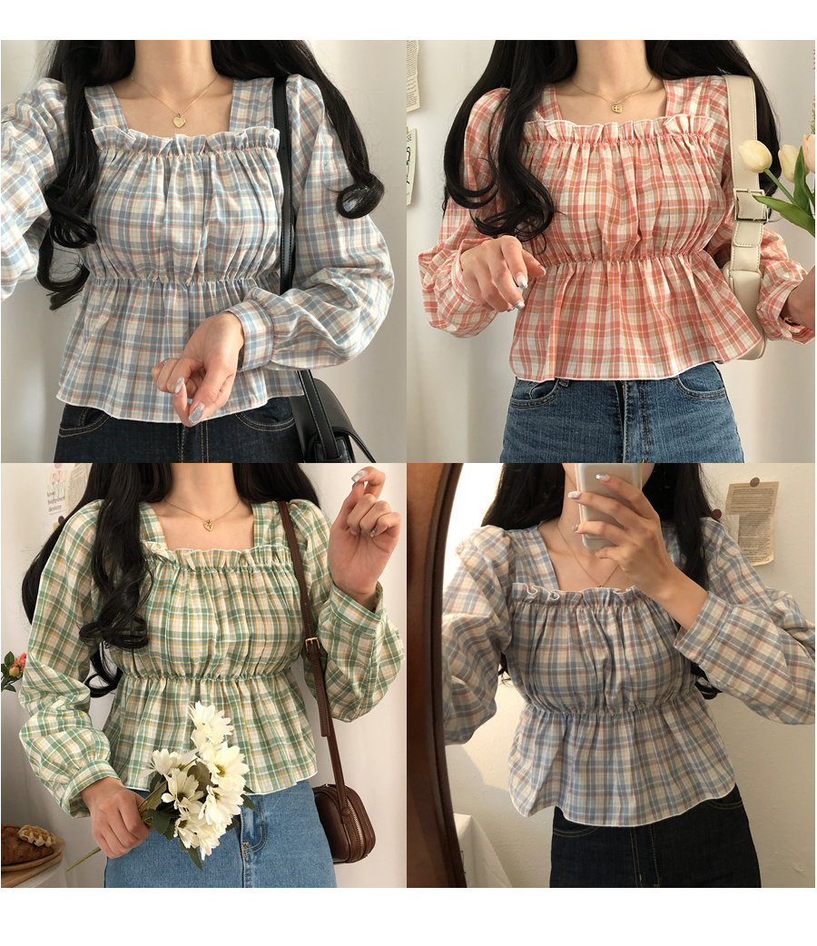Soda flavor check frill square-neck blouse