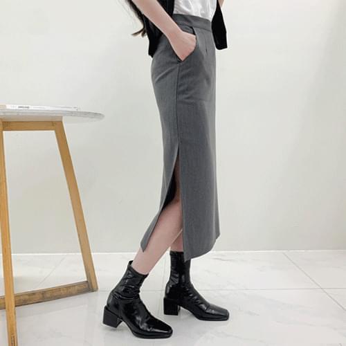 Soft Pin Tuck Side Split Long Skirt P#YW607