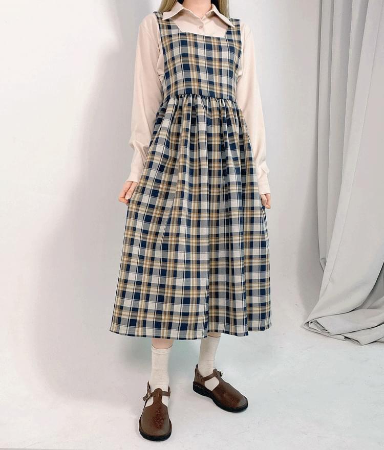 韓國空運 - Check Long Pinafore Dress 長洋裝