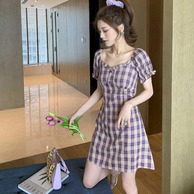 復古格紋波浪袖短洋裝
