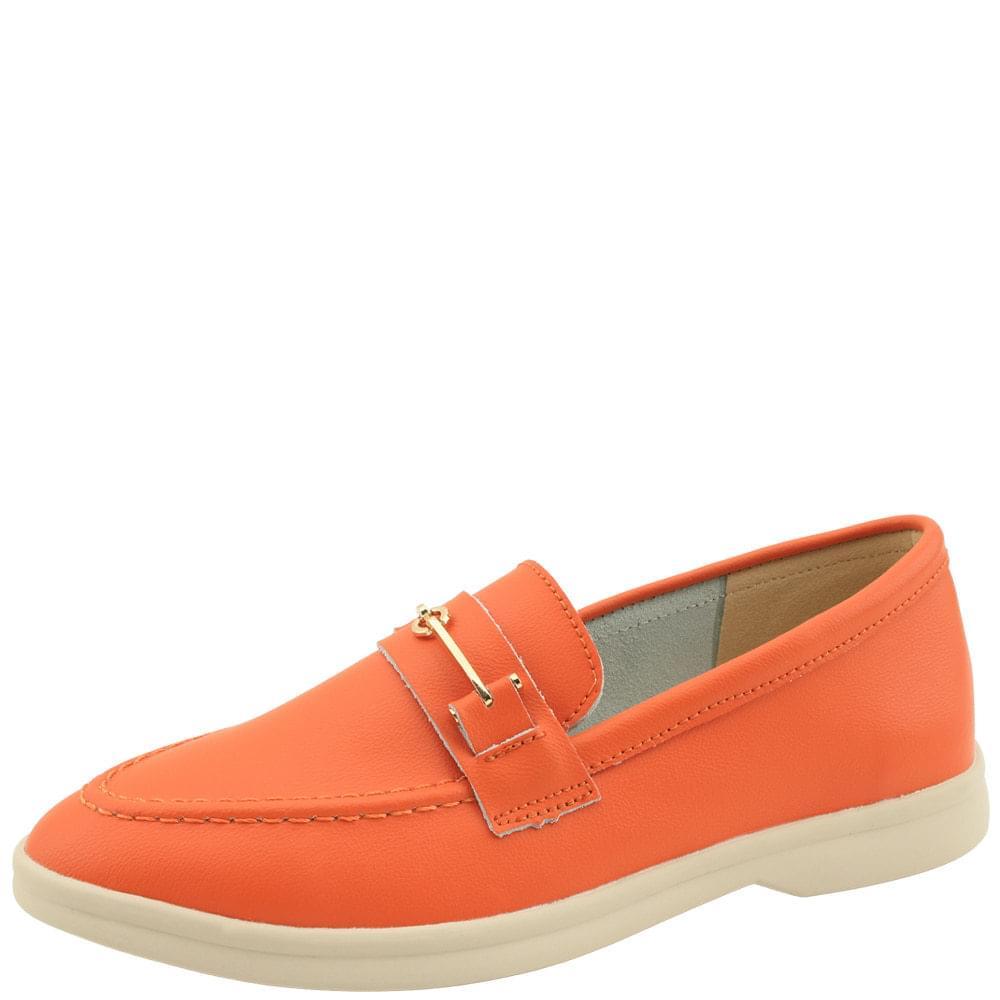 韓國空運 - Cowhide Chain Vivid Loafers Orange 樂福鞋