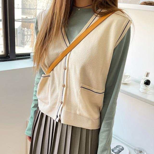 Moble Color Line Knitwear Vest 針織外套