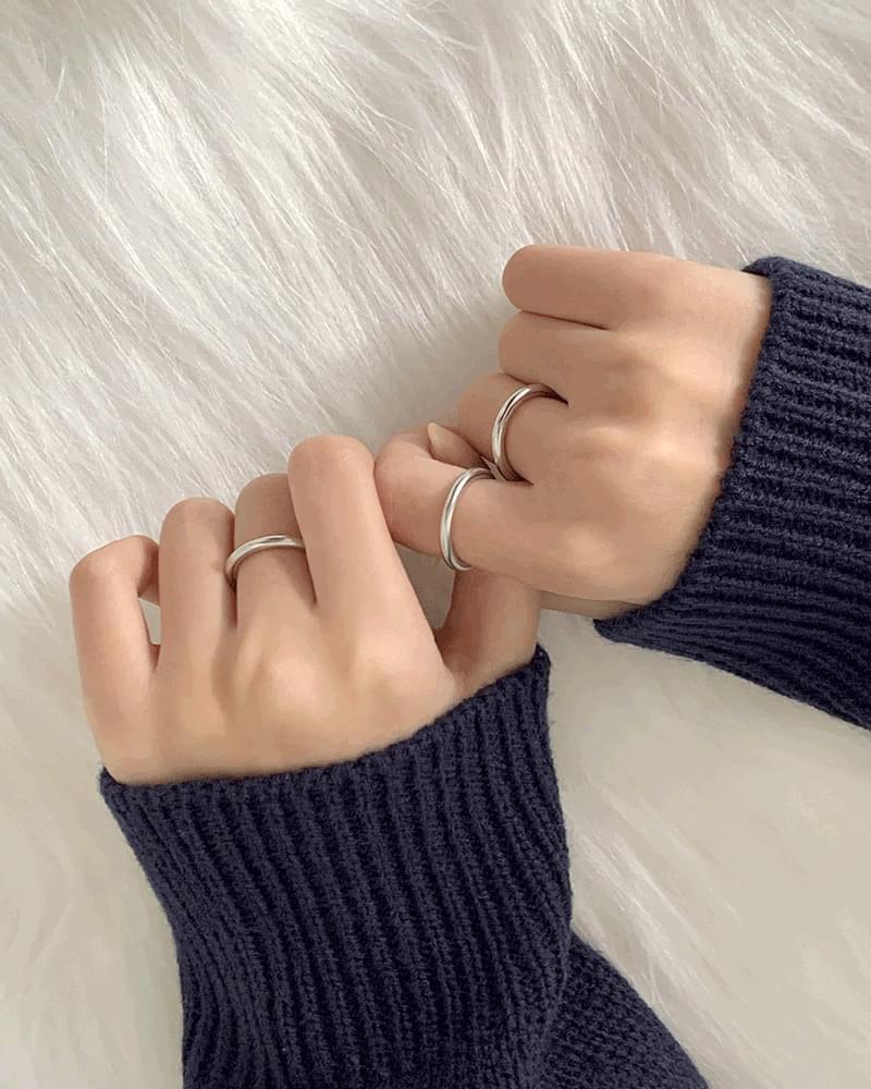 Kepo 3-set matte silver ring