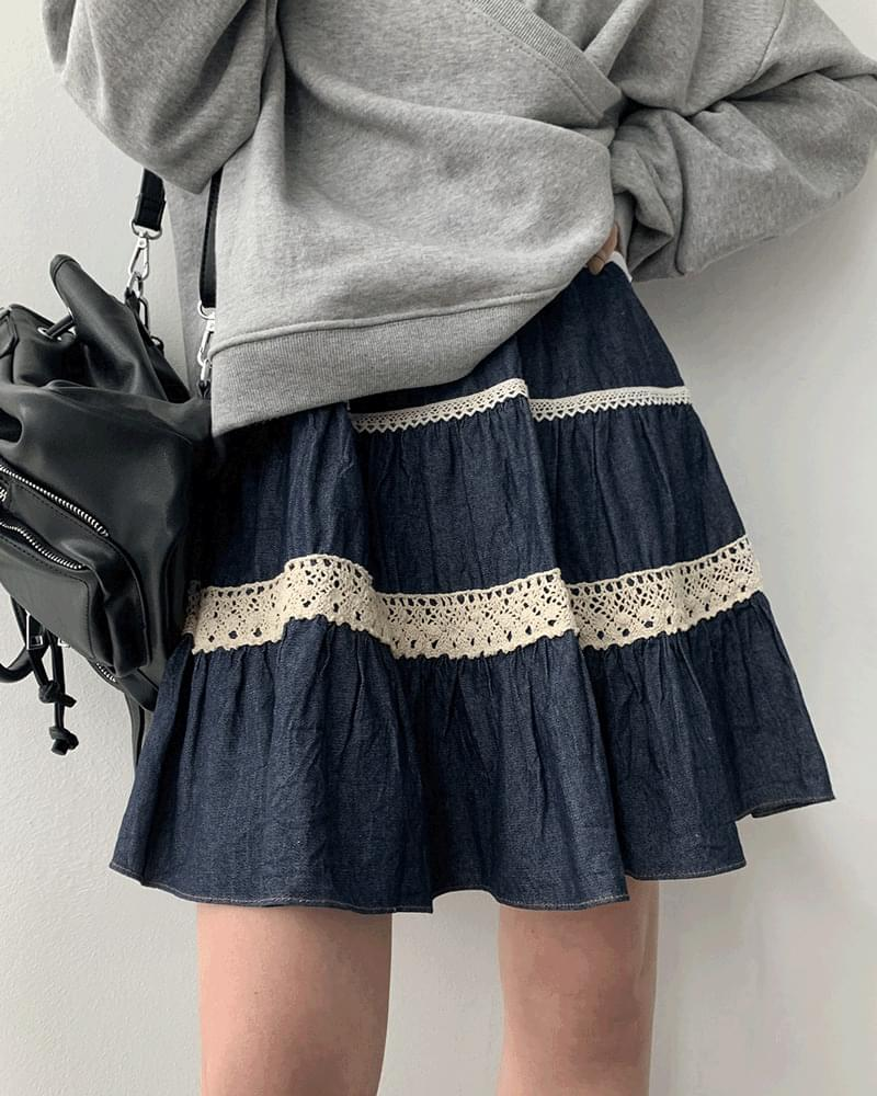 Way Lace Denim Flared Skirt