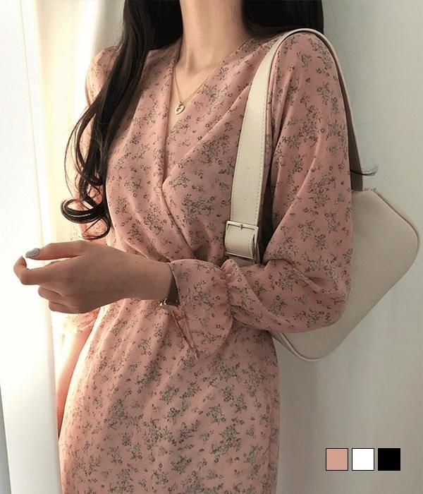Miracle Flower Chiffon Wrap Dress 及膝洋裝