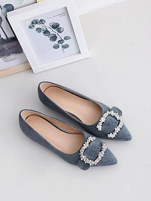 Pointed nose suede C-shaped cubic buckle decoration loafers flat shoes 2515 ♡2nd sold out♡