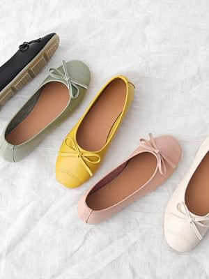 Round toe stitching soft ribbon flat shoes 10686&7052 ♡7th sold out♡