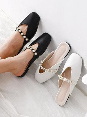 Isshu square nose pearl-embellished strap blower slippers 9033