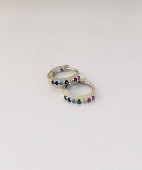 rainbow cubic onetouch earring 耳环