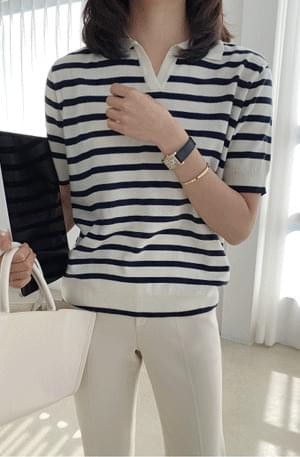 Stripe Color Collar Short Sleeve Knitwear