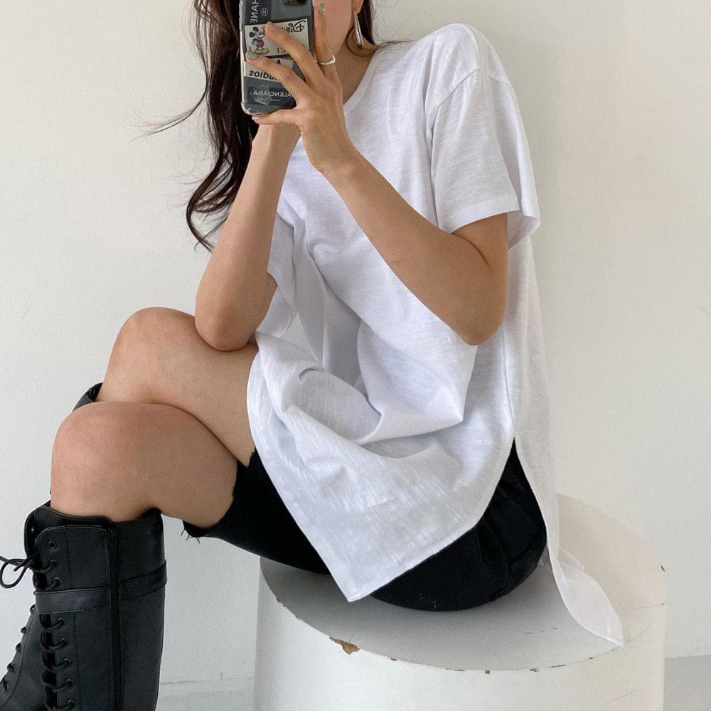 韓國空運 - Overfit side split box T-shirt 短袖上衣