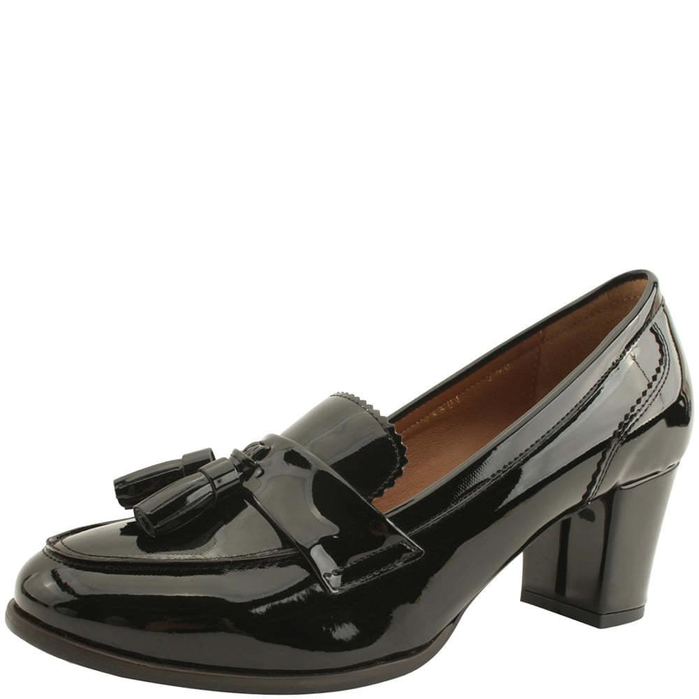 韓國空運 - Tassel Full Heel Middle Heel Loafers 6cm Enamel Black 樂福鞋