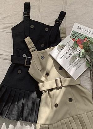 Tampnia Belt Pleated Bustier Dress