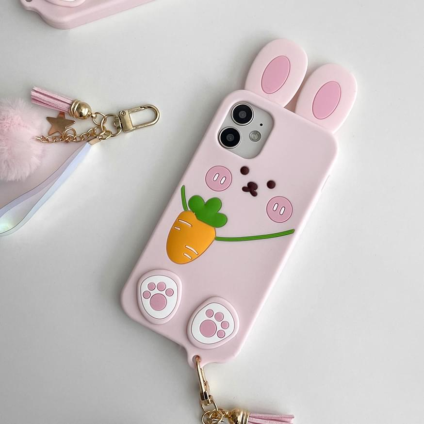 Carrot Bag Pink Rabbit Silicone Case 手機殼