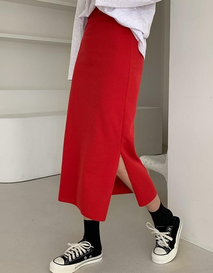韓國空運 - 開衩羅紋直筒長款半身裙 裙子