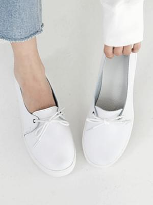 Rounded leather sneakers 2cm
