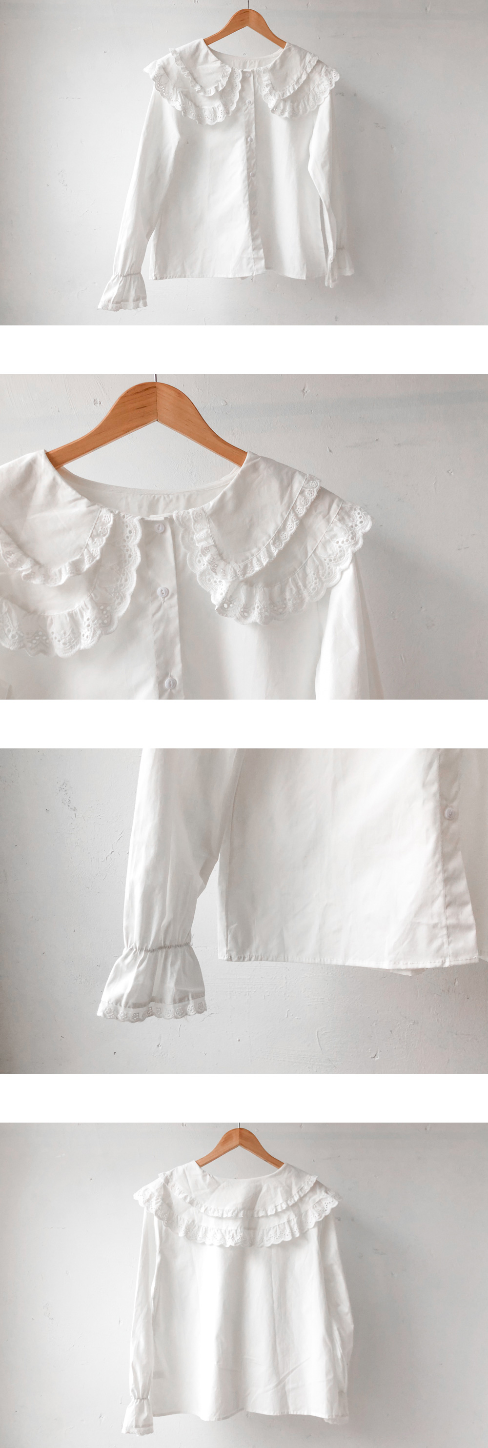 Double-collar frill cotton blouse