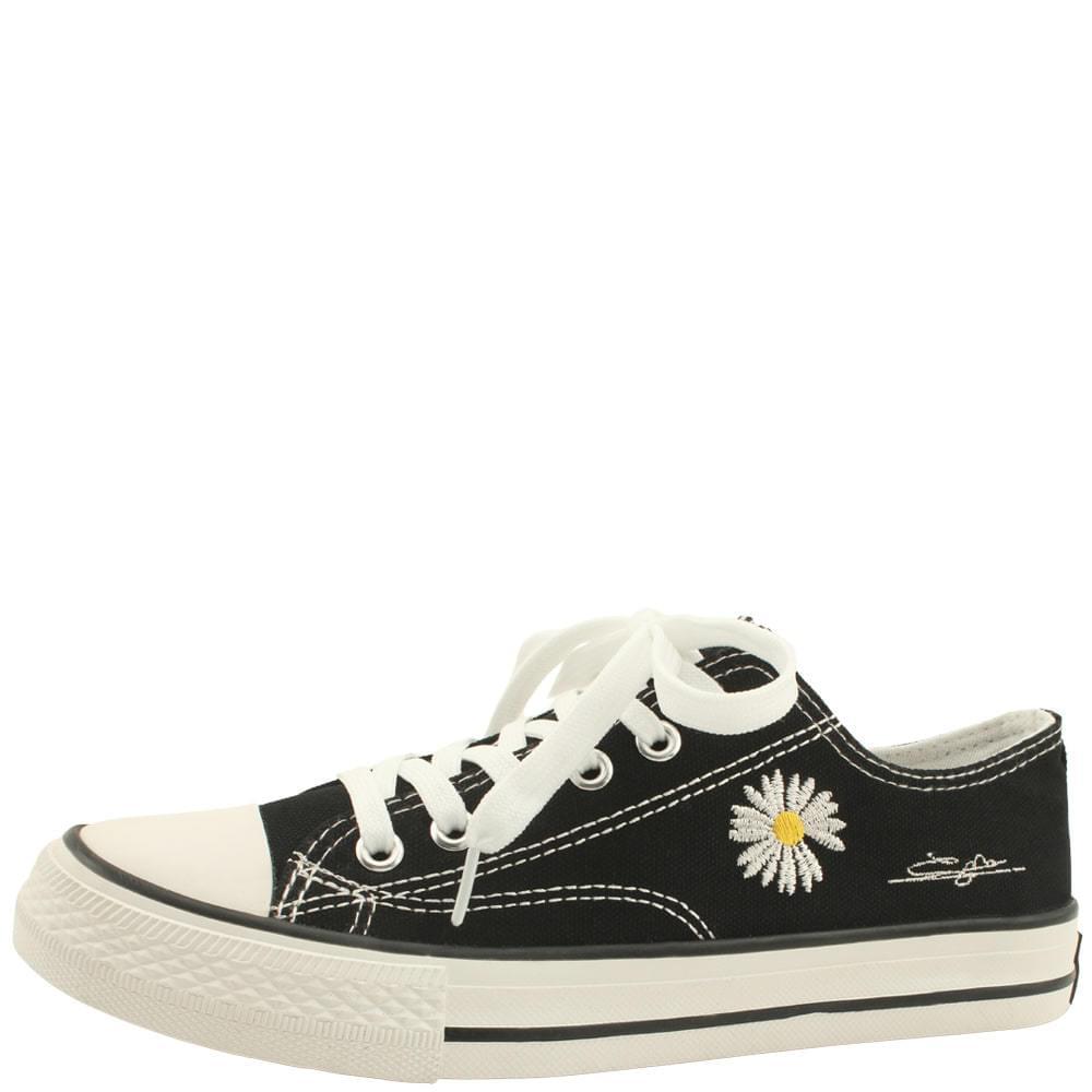 Flower canvas low-top sneakers