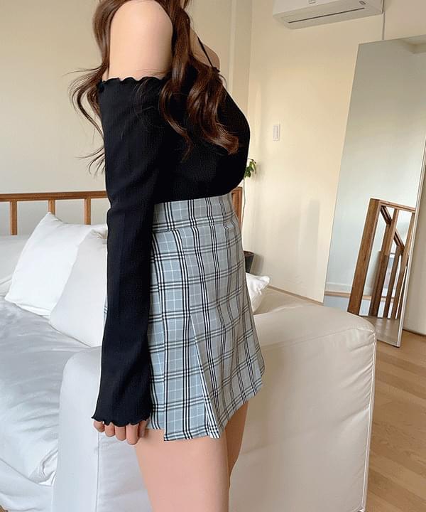 Bob check pleated skirt 3color