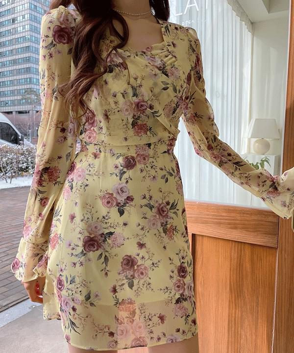 Romantic Shirring Flower Dress 2color 及膝洋裝