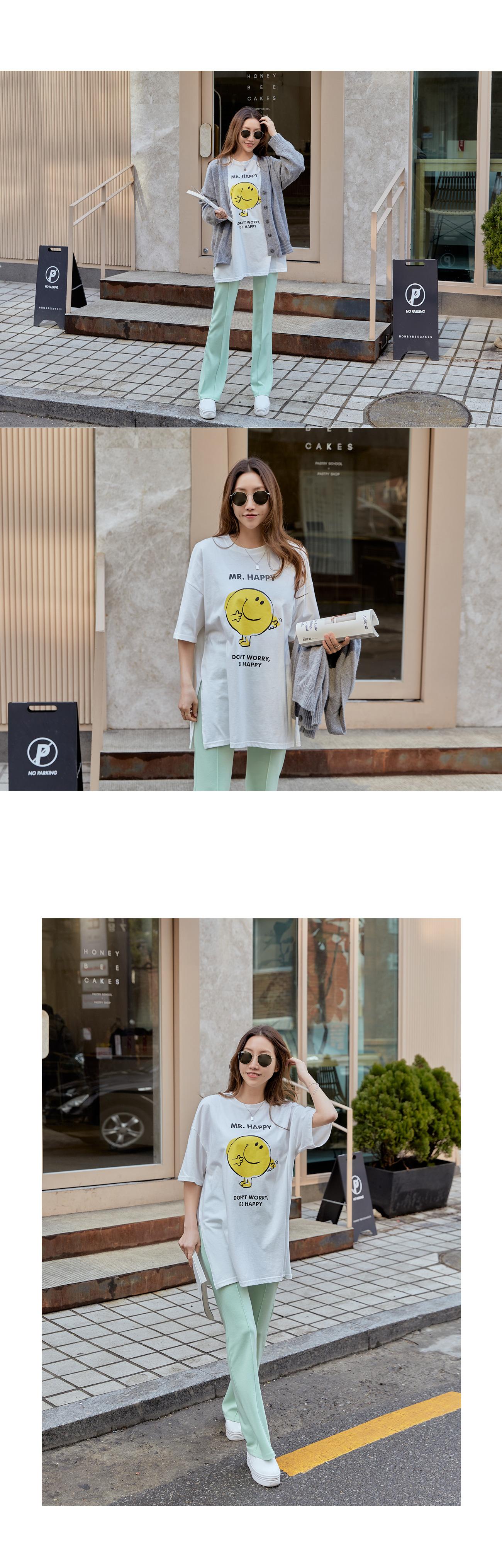 Smile Loose-fit Fit Slit Long T-shirt #108854