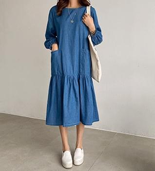 Banding wrinkle denim long Dress #37839