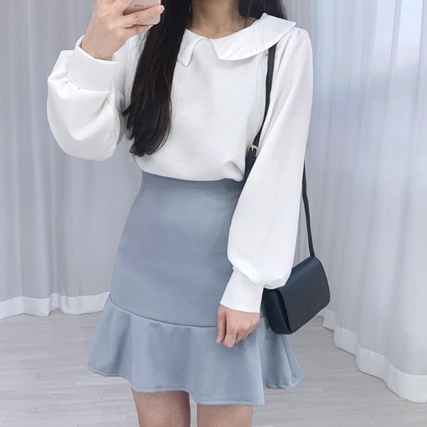 Plain collar daily blouse