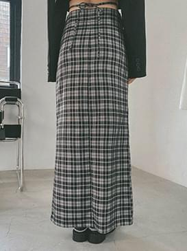 Checked low-rise long skirt