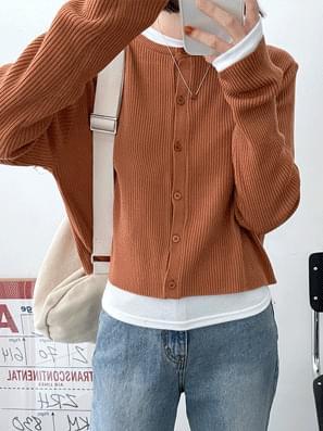 Hug Ribbed Crop Knitwear Cardigan
