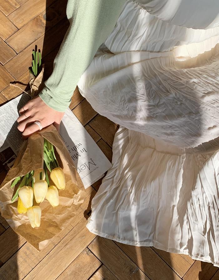 Pleated pleated Dress 及膝洋裝