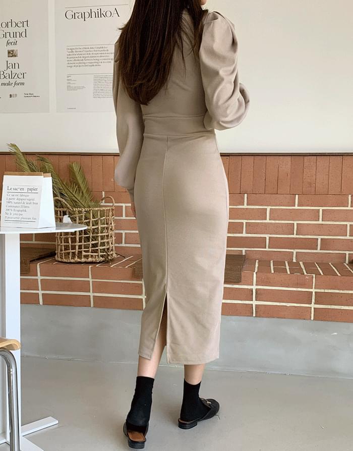 Main Puff Dress 及膝洋裝