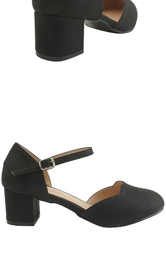 Mary Jane Wave Long Heel Middle Heel 5cm Black