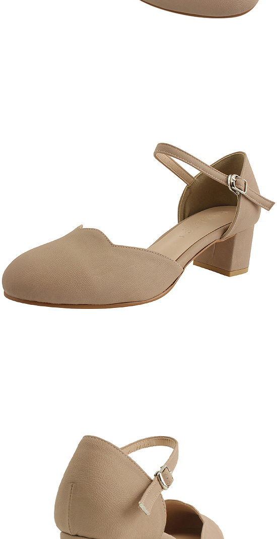 Mary Jane Wave Long Heel Middle Heel 5cm Pink