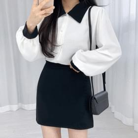 Color matching collar blouse