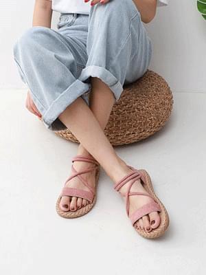 Issu Upper X Strap Banding Flat Sandal 10791 涼鞋