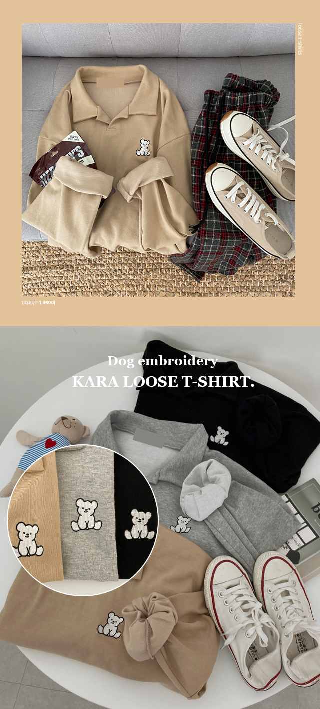 Dog-embroidered collar rouge T-shirt