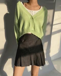 Denim half pleated mini skirt