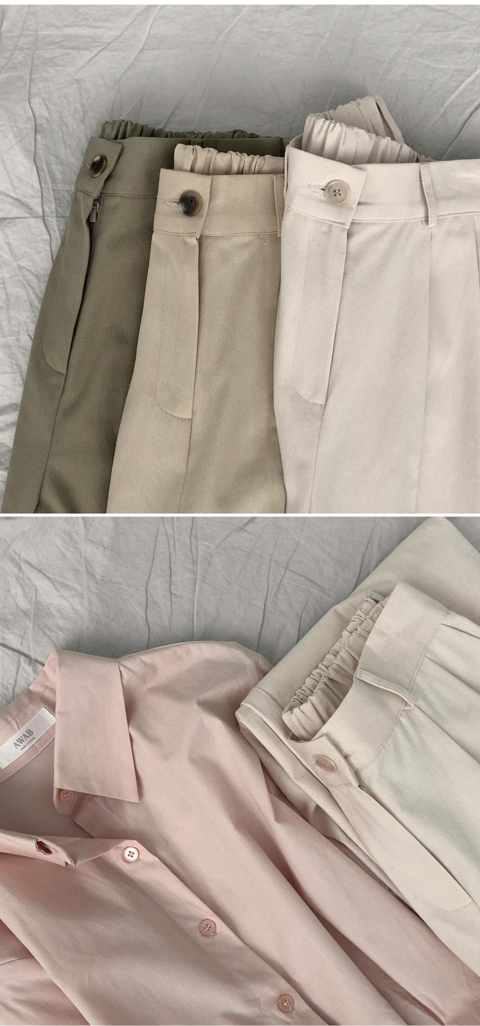 壓褶單釦後鬆緊棉質寬褲