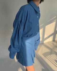 Denim shirt skirt two piece
