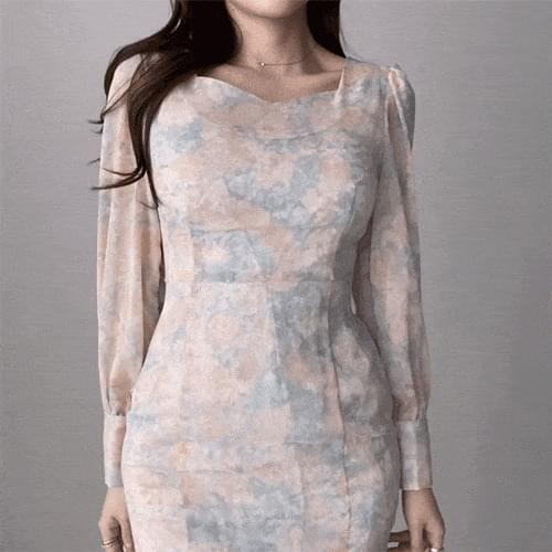 Slim Fit Heart Neck Chiffon Puff Mermaid Flower Dress 半身裙