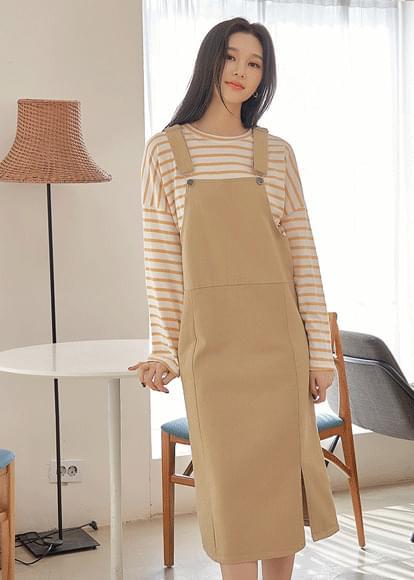 Natural Slit Overall Dress 及膝洋裝