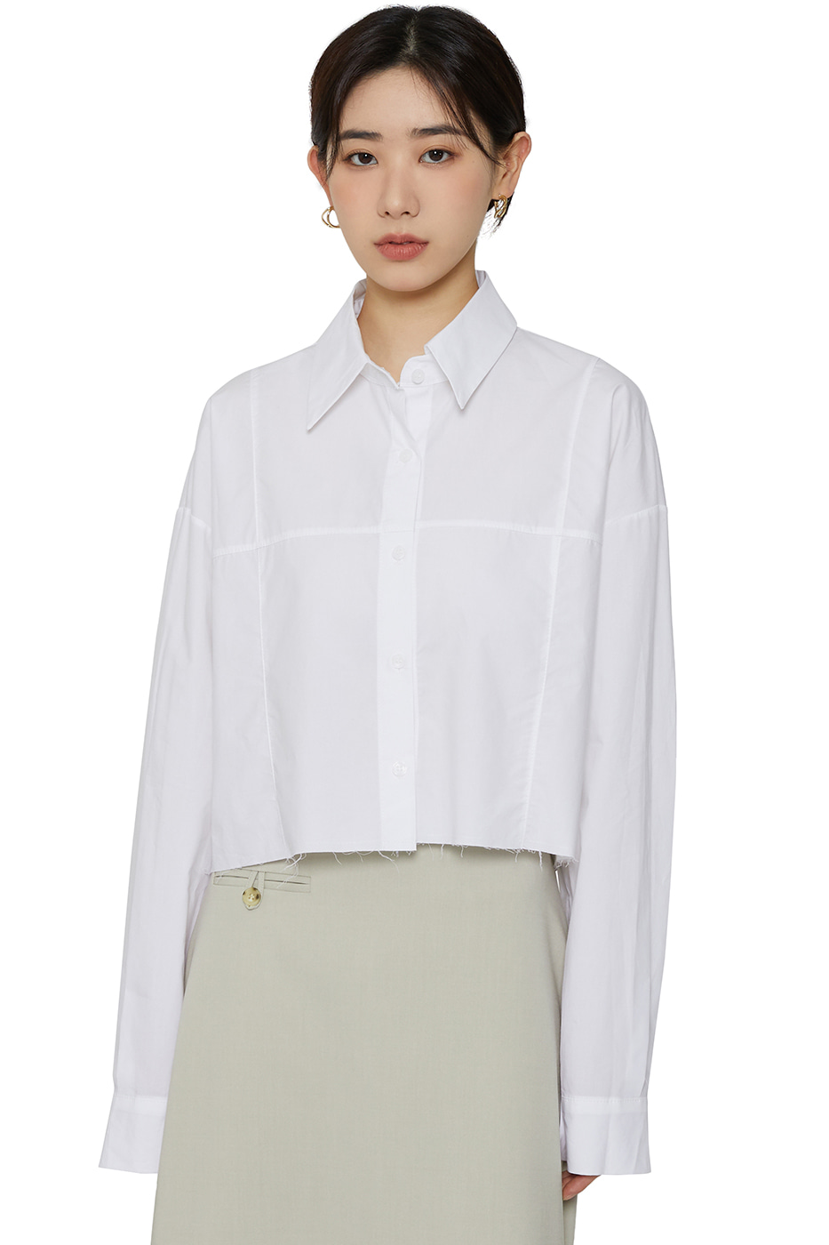 Marie cut cropped shirt