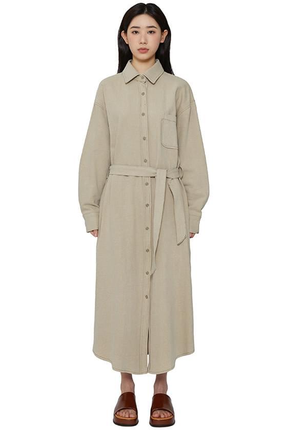 Neutral shirt maxi dress 長洋裝