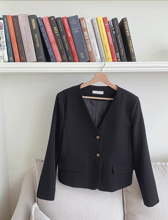 Carry no-collar cropped jacket