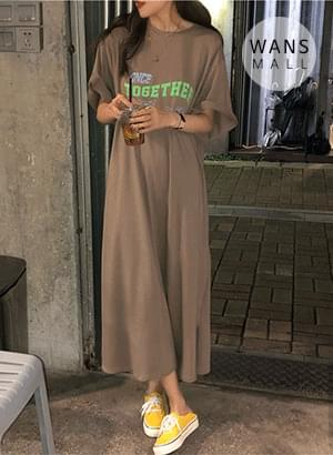 op3709 Once Lettering Long Dress 连身裙