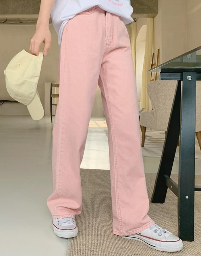 Pastel Faded Cotton Wide Pants pants
