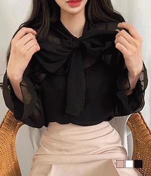 Yojo see-through ribbon blouse