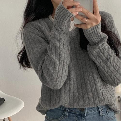 V領麻花紋混羊毛針織上衣