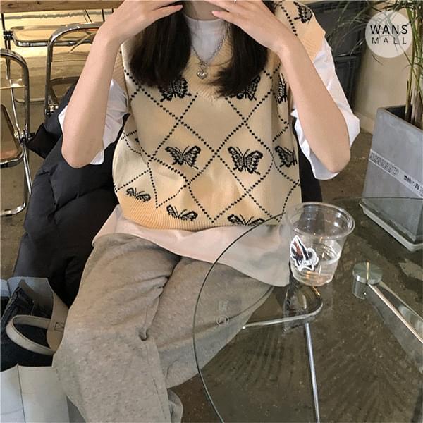 vt3657 Koya Butterfly Pattern Knitwear Vest 針織衫
